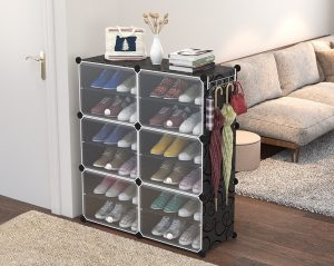 Shoe Rack with Transparent Cover. 4/6/8 Tiers with 1 or 2 Columns